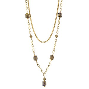 Cobalt Ca'd'oro Cubes and Swarovski Crystal Pearls Necklace with Double Chain 40 Inches