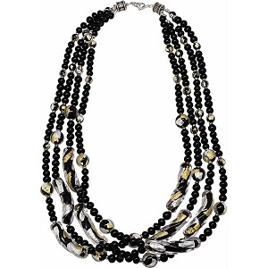 Black with Gold and Silver Extravaganza 4 Strand Necklace