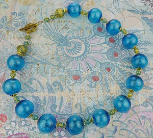 Aqua Murano Glass Blown Bead Necklace