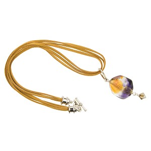 Venetian Glass Bicolor Pebble Pendant Necklace, Topaz and Purple with 24kt Gold Foil
