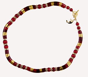 Deep Red Serale Necklace 16 Inch