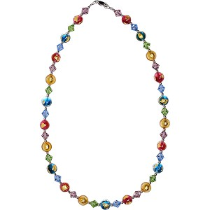 Gypsy Multi Colors  Murano Glass Tosca 24kt Gold Foil Patches and Swarovski Necklace 21 Inches