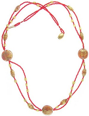Campigli Necklace - Red and Gold