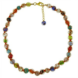 Multi Colors Aventurina  Necklace 16 Inches w/ 2 Inch Extender, Gold Tone Clasp Authentic Murano Glass Beaded