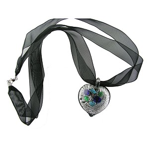 Black and Silver Murano Glass Heart Necklace with Black Organza Ribbon