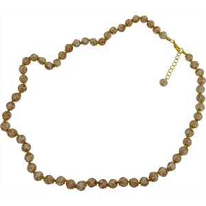 Pale Gray with Aventurina Authentic Murano Glass Beaded Necklace 26 Inches with 2 Inch Extender, Gold Tone Clasp