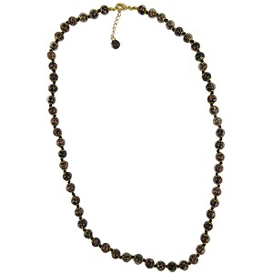 Black with Aventurina Authentic Murano Glass Beaded Necklace 26 Inches with 2 Inch Extender, Gold Tone Clasp