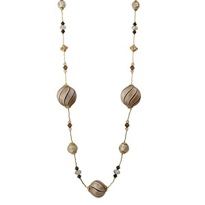 Chocolate and Sparkles Blown Murano Glass Bead Necklace, 19 Inches