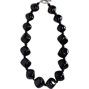 Black Beauty Graduated Mouth Blown Murano Glass Necklace 18 Inches