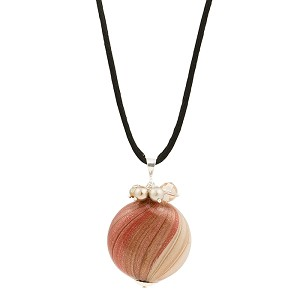 Doppio Strata Sparkle Blown Murano Glass Pendant, Red & Cream