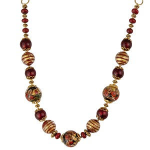 Red and Gold Lampwork Roses Murano Glass Filigrana Necklace
