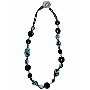 Aqua and Black Tigrato Murano Glass Necklace 20 Inches with SeedBead - One of a Kind