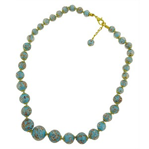 Celeste Scuro Aqua  Aventurina Graduated Necklace 18 Inches w/ 2 Inch Extender, Gold Tone Clasp Authentic Murano Glass Beaded