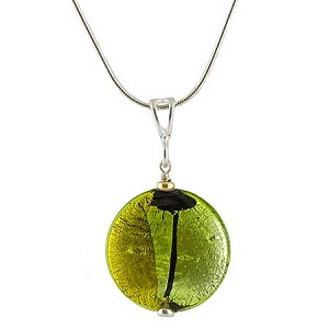 Murano Glass Pezzi Disc Pendant - Herb Green over Gold and Silver