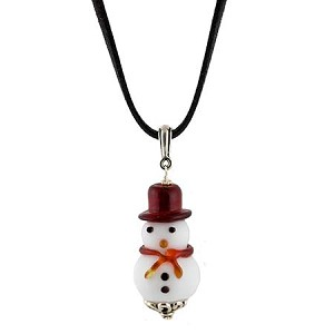 Red and White Murano Glass Snowman Pendant, 18 Inch Cord Necklace