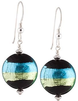 Tricolore Earrings -Green and Aqua over Black