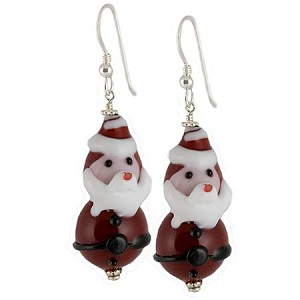 Babbo Natale Murano Glass Earrings with Sterling Silver Ear Wires