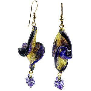 Cobalt Blue Twist Dangle Murano Glass Earrings with Exterior Gold Foil