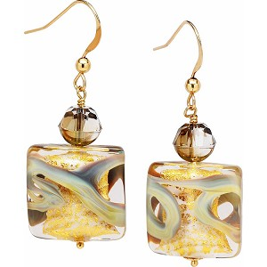 Calcedonia Murano Glass Ca'd'oro Gold Foil Earrings with Gold Fill Ear Wires