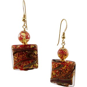 Calcedonia Murano Glass Red Ca'd'oro Gold Foil Earrings with Gold Fill Ear Wires
