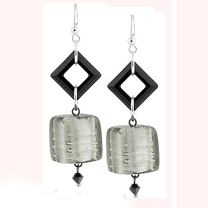 Chunky Charcoal Murano Glass Cube Earrings with Swarovski Crystals