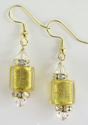 Gold Foil and Crystals Earrings