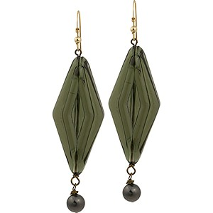 Olivine Diamond Dangle Cella Bella Earring, Murano Glass Beads
