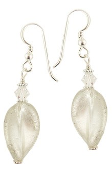 Crystal White Gold Murano Glass Earring