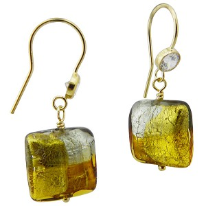 Topaz and Gray 4 Colors Square Earring over Silver and Gold Murano Glass