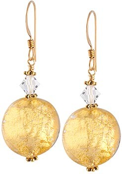 Schissa Earrings - Crystal over Gold
