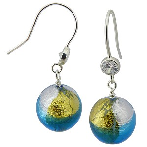 Aqua and Clear 4 Colors Square Earring over Silver and Gold Murano Glass