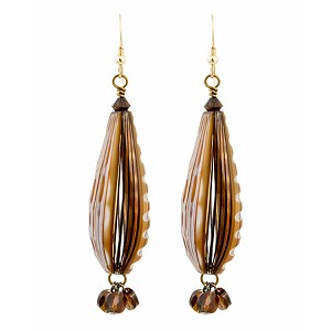 Chocolate Teardrop Blown Murano Glass Earrings, 50mm with Swarovski Crystal Drops