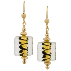 ZigZag Black and Gold Cube Murano Glass Earrings