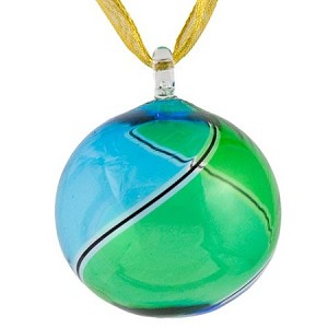 Aqua and Green Striped Murano Glass Hanging Ornament