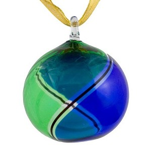 Blue and Green Striped Murano Glass Hanging Ornament