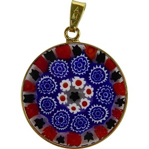 Millefiori Pendant Black and Red with Vermeil Bezel