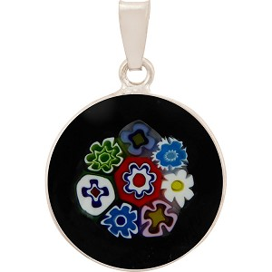 Black Bouquet Multi Flowers 23mm Millefiori Sterling Silver Bail Pendant Murano Glass