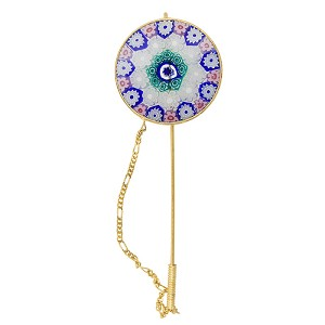 Blue, Pink and White Millefiori Stickpen 24mm Gold Plate