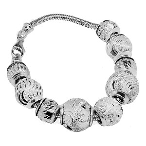 Sterling Silver European Charm Bracelet 7.5 Inches Snake Chain