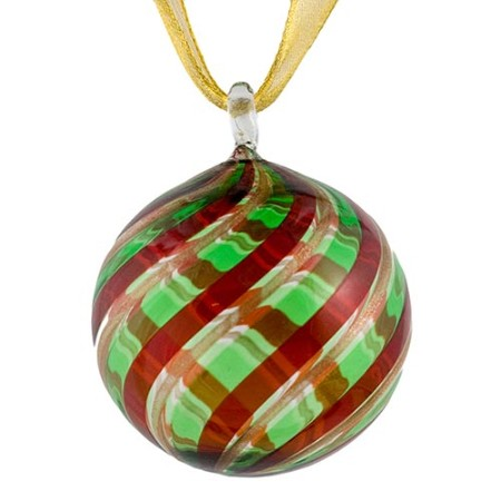 Green And Red Striped Murano Glass Hanging Ornament