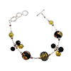 Black Luna Melody with Gold Foil Murano Glass Beads Bracelet, CellaBella