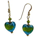 Aqua and Herb Silver Murano Glass Heart Earrings