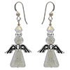 Angel Earrings White Gold Murano Glass Triangles and Silver Plated Pewter