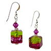 Bicolor Cube Earrings - Rubino and Green over Silver Murano Glass Earrings with Sterling Silver Ear Wires