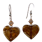Double Heart Topaz on White Gold Foil Murano Glass Earrings with Sterling Silver Earwires