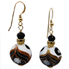 Black and White Aventurina Millefiori Murano Glass Earrings with Gold Fill Ear Wires