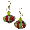 Red and Green Murano Glass Blown Cipollina Bead Earrings with Gold Fill Ear Wires