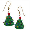 Green Lampwork Decorated Murano Glass Tree Earrings