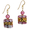 Pink Millefiori Lace Earrings with Gold Fill Earwires