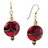 Red Disc and Aventurina with Gold Fill Ear Wires and Swarovski Crystals Authentic Murano Glass